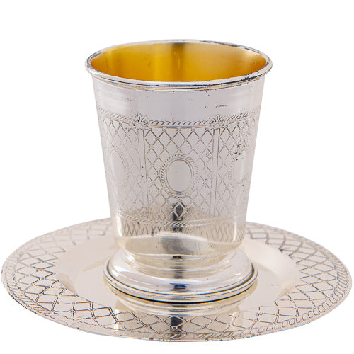 Metal Kiddush Cup 9cm with Saucer, Stemless
