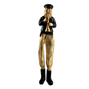 Black Polyresin Hassidic Figurine with Golden Cloth Legs 18 cm- Clarinet Player
