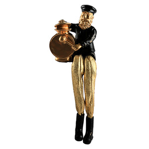 Black Polyresin Hassidic Figurine with Golden Cloth Legs 18 cm- Drums Player