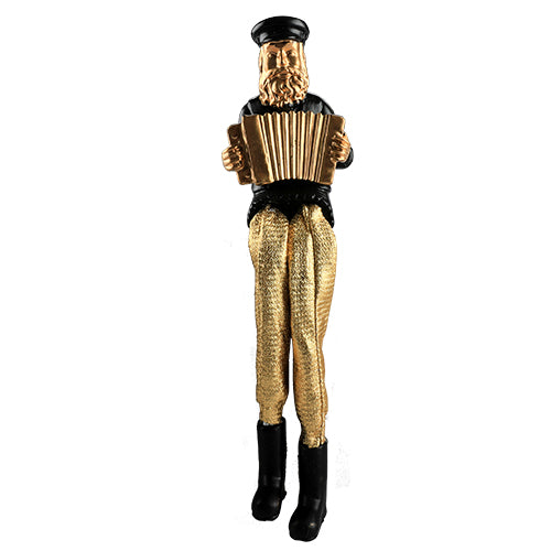 Black Polyresin Hassidic Figurine with Golden Cloth Legs 18 cm- Accordion Player