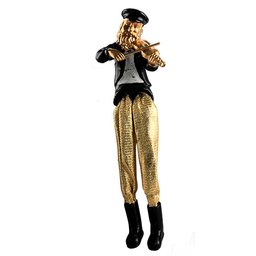 Black Polyresin Hassidic Figurine with Golden Cloth Legs 18 cm- Fiddle Player