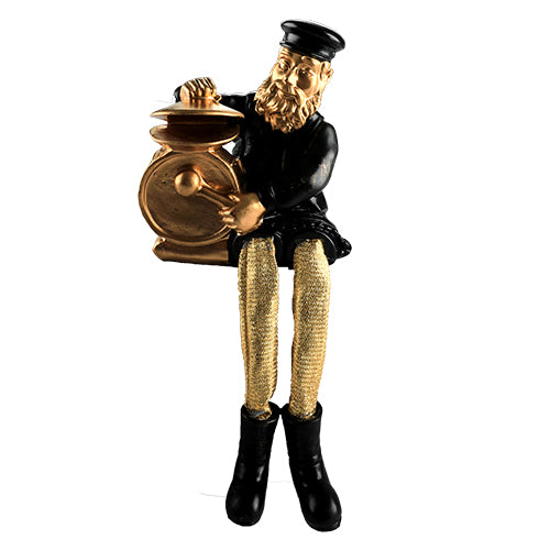Black Polyresin Hassidic Figurine with Golden Cloth Legs 23 cm- Drums Player