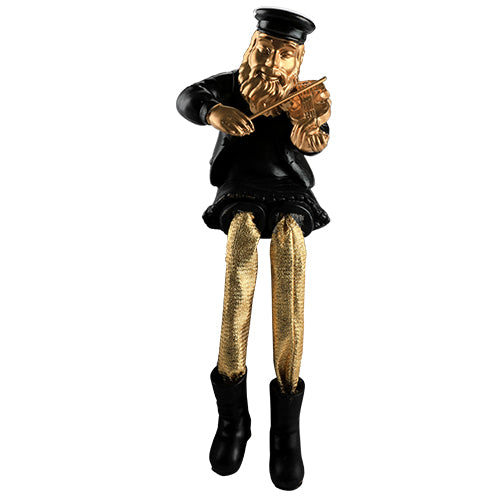 Black Polyresin Hassidic Figurine with Golden Cloth Legs 23 cm- Violin Player