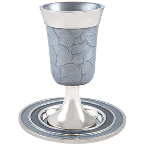 Aluminium Kiddush Cup 15 cm with Saucer- Silver Color