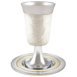 Aluminium Kiddush Cup 15 cm with Saucer- White