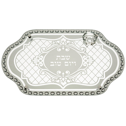 Glass Challah Tray with Stones 45*30 cm - I