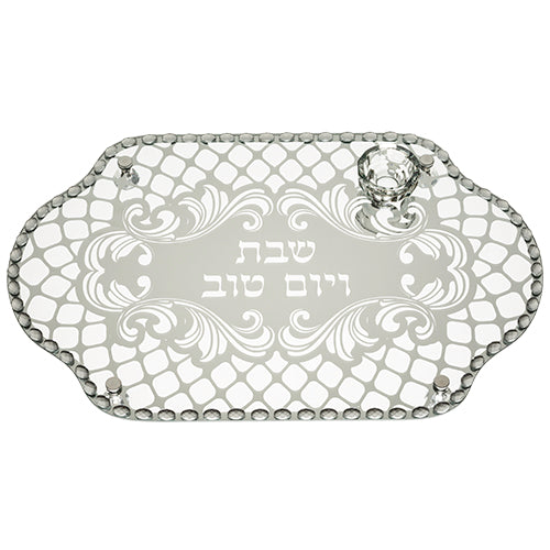 Glass Challah Tray with Stones 45*30 cm - II