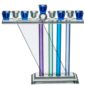 Crystal Menorah 30*26cm- Blue