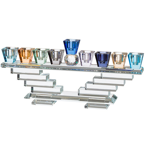 Luxurious Crystal Menorah 13X28 cm- Colorful
