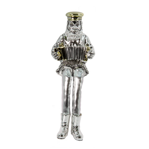Silvered Polyresin Hassidic Figurine with Cloth Legs 25 cm- Accordion Player