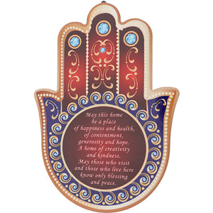 Ceramic Blue & Red Hamsa Stand and Hanging Option 15X11 cm- English Home Blessing