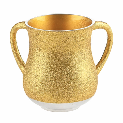 Elegant Aluminum Washing Cup 13 cm - In Gold Glitter Coating