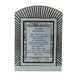 "Glass Miror Glitter English Home Blessing - Rainbow shaped frame 28X20 cm- ""Lines"""