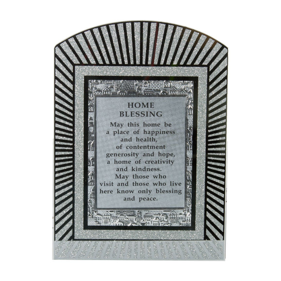 Glass Miror Glitter English Home Blessing - Rainbow shaped frame 28X20 cm-