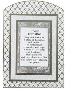 "Glass Miror Glitter English Home Blessing - Rainbow shaped frame 24X17 cm -""Diamonds"""