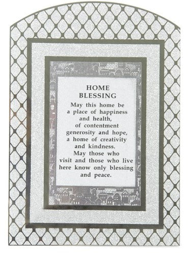 Glass Miror Glitter English Home Blessing - Rainbow shaped frame 24X17 cm -