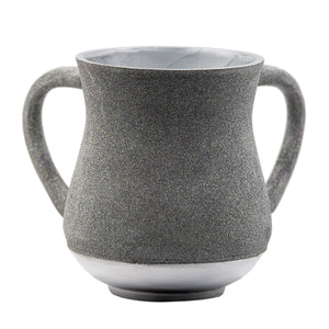 Elegant Aluminum Washing Cup 13 cm - In Silver & Gray Glitter Coating
