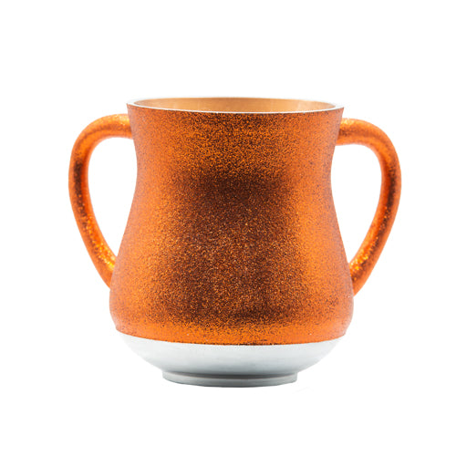 Elegant Aluminum Washing Cup 13 cm - In Red - Orange Glitter Coating