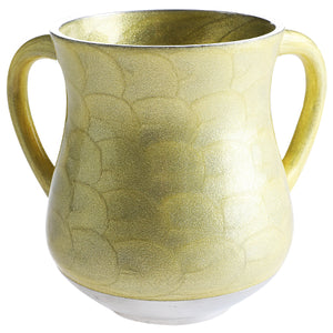 Elegant Aluminium Washing Cup 13 cm with Gold Sparkling in Yellowish