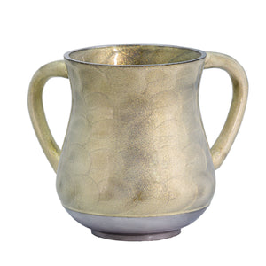 Elegant Aluminium Washing Cup 13 cm with Gold Sparkling in Pearl