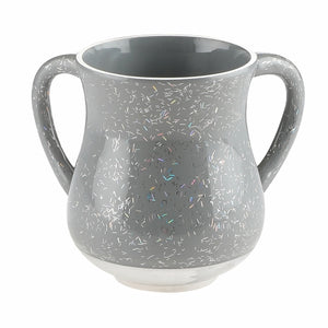 Elegant Light Gray Aluminium Washing Cup 13 cm with Sparkling Silver Stripes