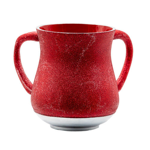 Elegant Aluminium Washing Cup 13 cm - In Bordeaux Glitter Coating