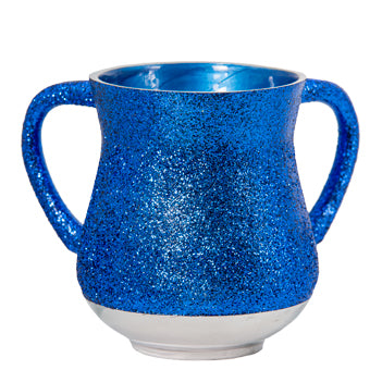 Elegant Aluminum Washing Cup 13 cm - In Blue Glitter Coating