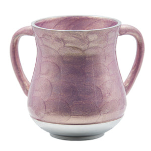 Elegant Aluminium Washing Cup 13 cm with Gold Sparkling in Lilac & Pink