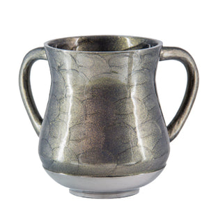 Elegant Aluminium Washing Cup 13 cm with Gold Sparkling in Silver
