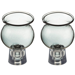Pair of Glass Oil Cups 4*5.5 cm- Light Gray