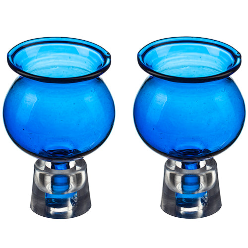 Pair of Glass Oil Cups 4*5.5 cm- Blue