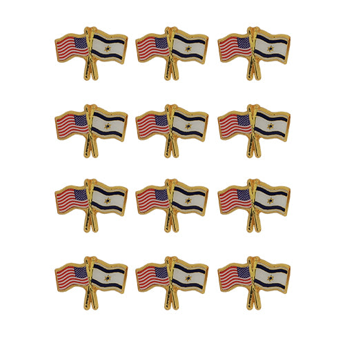 Metal Lapel pin 2.3 cm- Israel & USA Flags