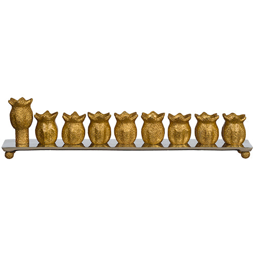 Aluminum Menorah 35 cm - Pomegranate - Gold