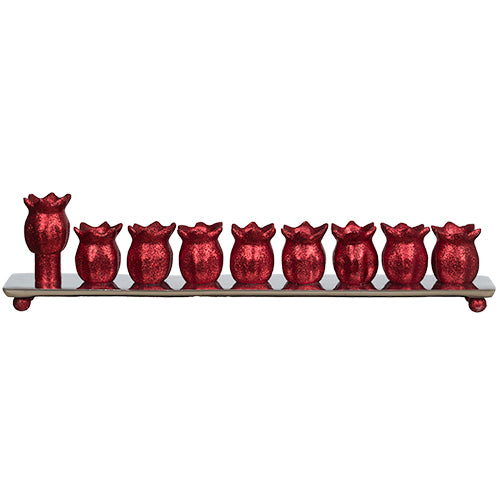 Aluminum Menorah 35 cm - Pomegranate - Red