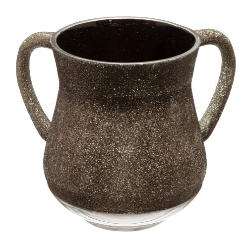 Elegant Aluminum Washing Cup 13 cm - In Green - Gray Glitter Coating