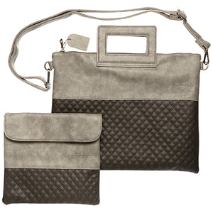 PU Fabric Talit & Tefilin Set 38*31 cm with Handles- Dark Gray