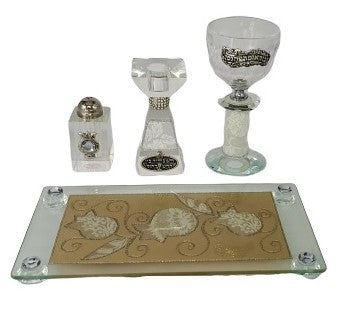 Crystal Havdalah Set with Lace Effect - White