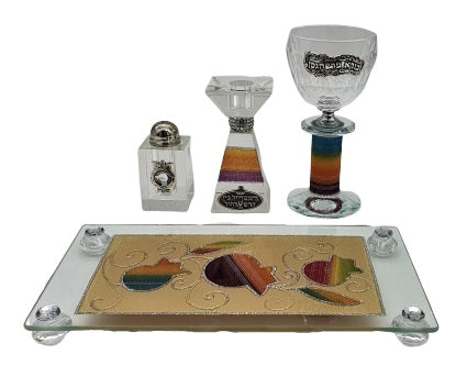 Crystal Havdalah Set with Lace Effect - Multicolored
