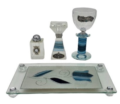 Crystal Havdalah Set with Lace Effect - Blue