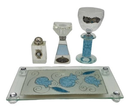 Crystal Havdalah Set with Lace Effect - Pale Blue