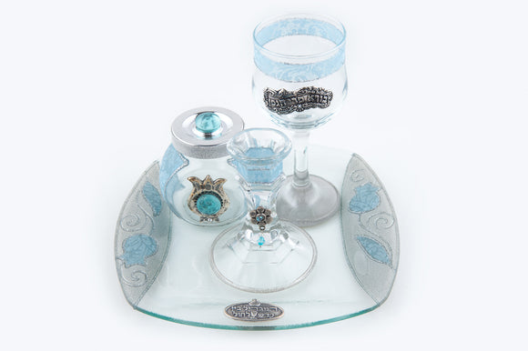 Crystal Square Havdalah Set with Lace Effect - Pale Blue