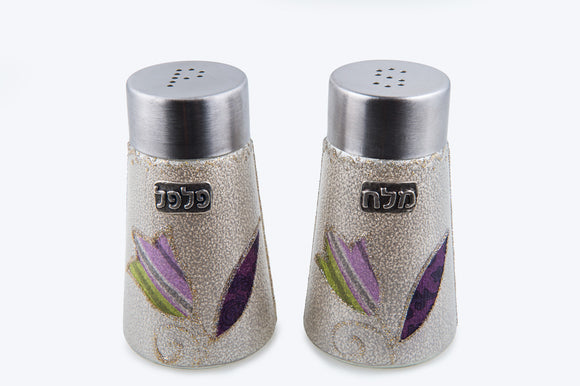 Cone Salt & Pepper Set - Purple Tulips