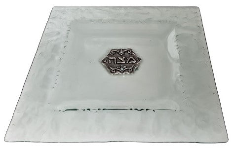 White Glass Decorated Matzah Plate 25 cm