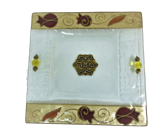 White Glass Decorated Matzah Plate 25 cm - Gold