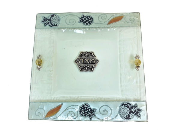 White Glass Decorated Matzah Plate 25 cm - Navy