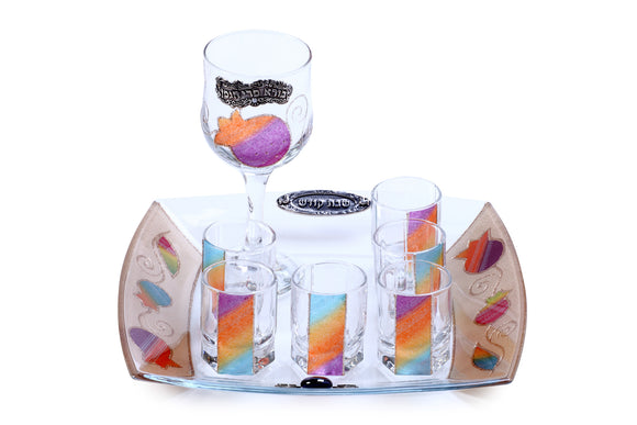 Glass Kiddush Set - Large Wine Goblet & Mini Glasses - Multicolored