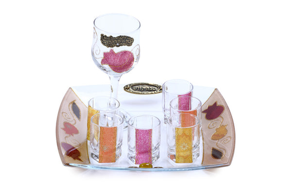 Glass Kiddush Set - Large Wine Goblet & Mini Glasses - Pink