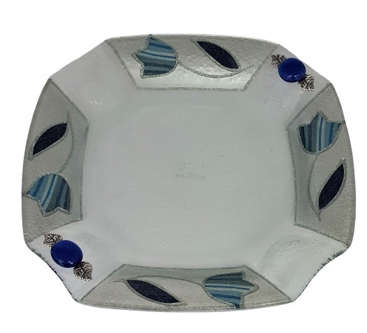 Decorated Blue Tulip Plate