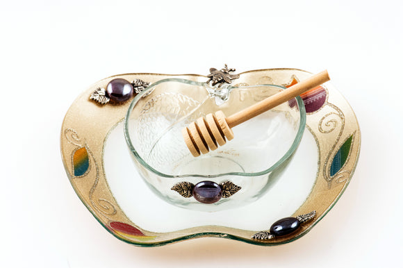 Apple-Shaped Rosh Hashanah Honey Set - Gold