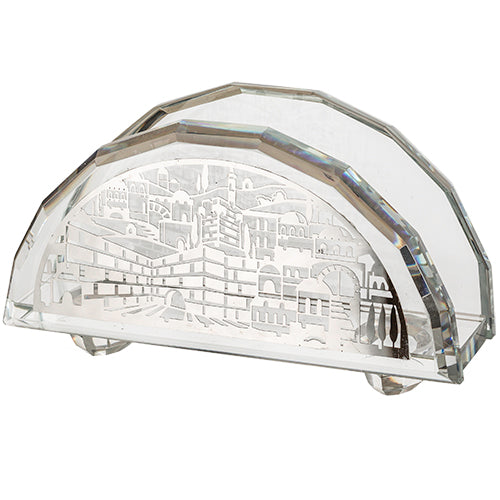Jerusalem Crystal Napkin Holder with Plate 8x14 cm